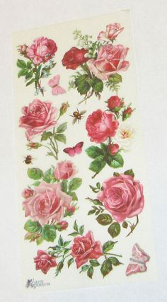 new Victorian Violette beautiful pink flowers roses butterflies stickers for…