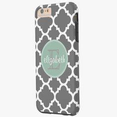 iPhone 6 Plus Cases | Charcoal and Mint Quatrefoil Pattern Monogram Tough iPhone 6 Plus Case