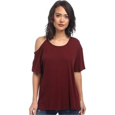 Free People Cotton Linen Rib After Party Tee Women's T Shirt, Burgundy (£26) ❤ liked on Polyvore