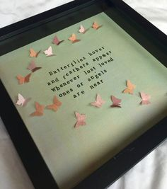 Hand stamped memorial quote frame butterflies hover and feathers appear, whenever lost loved ones or Angels are near Ideal sympathy gift or keepsake to Butterfly Quotes, Butterfly Frame, Butterfly Gifts, Condolence Gift, Sympathy Gifts, Grieving Gifts, Scrabble Art, Bereavement Gift, Memories Quotes