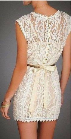 Fashionable White Lace Dress