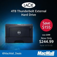Need storage? Save $154 on a 4TB #LaCie #USB3 #Thunderbolt drive from MacMall. #DailyDeal