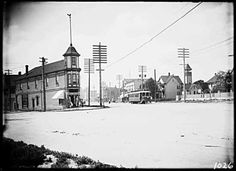 "A ""dry goods store"" between what would become Kingsway and Main St., PT Timms, 1908. Note: Firehall tower visible to the right of the photo."