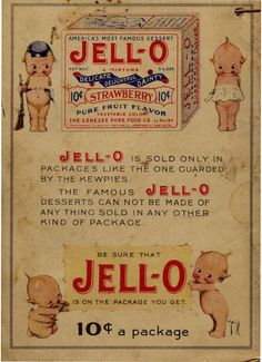 """Back of Jello Kewpie cookbook ((see my other pin) """"Vintage cookbook for the dollhouse kitchen - cover plus some internal pages ~ Idea: stage on the table with some bowls of jello"""