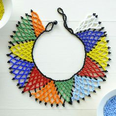 A new necklace which makes one homesick for Africa, even if you have never been here. African Necklace, African Beads, African Jewelry, Necklace Tutorial, Earring Tutorial, Bead Loom Patterns, Beading Patterns, Beaded Necklace Patterns, Seed Beads