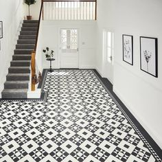 Our Heritage Collection features exquisite designs inspired by the architectural tiled floors of grand Victorian and Regency villas and townhouses Tiled Hallway, Hallway Flooring, Grey Flooring, Karndean Design Flooring, George House, Victorian Hallway, Regency House, Urban Apartment, Geometric Tiles