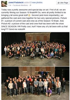 Jared's tweet and the two pictures of the SPN Cast and Crew