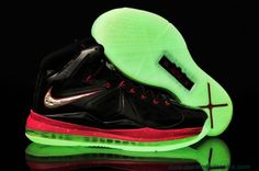 Cheap Womens Nike Lebron X Black/University-Red Glow-in-the-Dark Sole