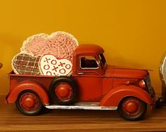 Country primitive home decor farm little red truck heart Valentine crochet cookie Country Trucks, Farm Trucks, Toy Trucks, Pickup Trucks, Christmas Truck, Red Christmas, Vintage Valentines, Valentines Diy, Truck Crafts