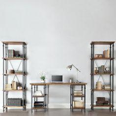 @Overstock.com.com - Myra Vintage Industrial Modern Rustic 3-piece Desk Bookcase Set - This desk and bookcase has a weathered patina allowing traces of natural wood and original colors to show through. The frame is made of black sand metal with each shelf providing storage for books, magazines and other decorative accouterments.    http://www.overstock.com/Home-Garden/Myra-Vintage-Industrial-Modern-Rustic-3-piece-Desk-Bookcase-Set/7896480/product.html?CID=214117  $899.99