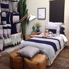 Beautiful pic of our new range at @relaxandentertain. On bed: Maison bedlinen in Dove and Indigo Big Stripe & Felt cushions and Big Stripe throw in Indigo  by aurahome