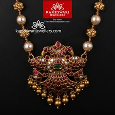 Gold Jewelry Extravagant Medly of Uncut Ruby and Pearls - Necklace L : 23 inches; W : inches Pendant L : inches; Pearl Necklace Designs, Jewelry Design Earrings, Gold Earrings Designs, Ruby Jewelry, Gold Jewellery Design, Bead Jewellery, Bridal Jewelry, Beaded Jewelry, India Jewelry