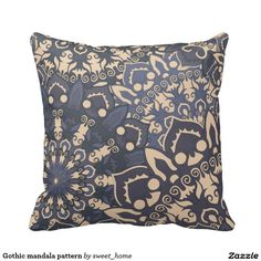 Gothic mandala pattern throw pillow  #Home #decor #Room #Interior #decorating #Idea #Styles #Traditional #Boho #Indian #Vintage #floral #motif