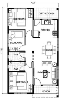 New house plans small bungalow bedrooms ideas Model House Plan, House Layout Plans, House Plans One Story, Best House Plans, House Layouts, Small Floor Plans, Kitchen Floor Plans, Small House Plans, Floors Kitchen