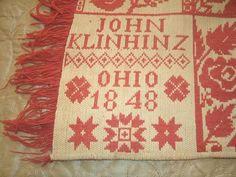"RARE 19th Century Jacquard Woven Coverlet ""Antique Red"" Ohio 1848 John Klinhinz   eBay"