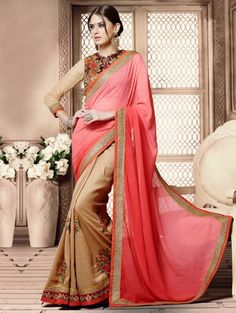 Pink and Beige Georgette Saree with Embroidery Work