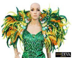 Feather Backpiece Show Colorida Diva Drag Queen Vegas Samba Showgirl Shoulder Dress Rio Carnival Collar Custom-Made - Backpack Drag Queen Outfits, Vegas Dresses, Exotic Dance, Show Dance, Rio Carnival, Ballroom Dance Dresses, Feather Dress, Dance Fashion, Stunningly Beautiful