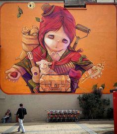 Street Art by inti in Santiago Chile Murals Street Art, Street Art Graffiti, Mural Art, Urban Street Art, Spray Paint Art, Amazing Street Art, Inca, Art Graphique, Dance Art