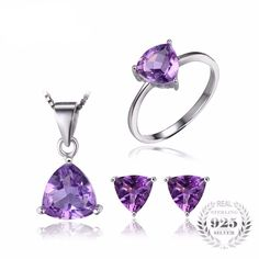 4ct Amethyst Hearts Set