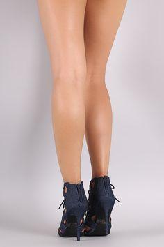 Qupid Denim Geo Caged Lace-Up Stiletto Heel