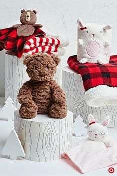 How sweet are these woodland friends! Beyond the over-the-top cuteness factor, they're the perfect addition to warm, family nights in. Cuddle up together on the sofa with the softest blankets and the plushest toys. Each bear, bunny and blanket (in on-trend Buffalo Check and striped patterns) will definitely up the cozy factor.