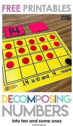 Decomposing Teen Numbers Free decomposing numbers into ten and some ones activity. Students pick a number card, build the number using objects and write an equation or number sentence. This is a perfect math center activity! Numbers Kindergarten, Kindergarten Math Activities, Fun Math, Preschool, Math Resources, Number Activities, Math Math, Homeschool Math, Teen Numbers