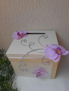 Urne pour mariage ivoire et mauve avec orchidée Plus