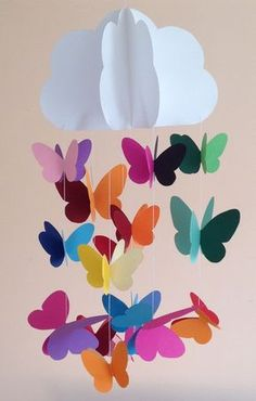 Baby crib mobile, nursery mobile, decorative hanging for parties, nursery decoration with cloud and butterflies sewn with colored paper, - Ich habe diese Babywiege mobile. Kids Crafts, Diy And Crafts, Preschool Crafts, Baby Crib Mobile, Baby Cribs, Decoration Creche, Crib Decoration, Hanging Paper Decorations, Butterfly Decorations