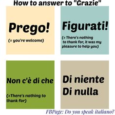 How to answer to 'Grazie' / Come rispondere a un 'Grazie'