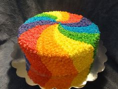 My wife made a big beautiful buttercream cake, with colorful spirals and glitter! My wife made a big beautiful buttercream Rainbow Icing, Rainbow Food, Rainbow Cakes, Rainbow Swirl, Mini Cakes, Cupcake Cakes, Cupcakes, Beautiful Cakes, Amazing Cakes
