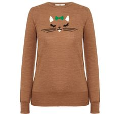Orla Kiely: Lightweight 100% merino wool sweater with a cat intarsia on front.    Length: 24.8in (high shoulder point)