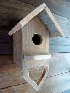Small Pallet wood bird house with heart shaped perch below - my own design :)