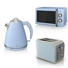 Swan Kitchen Appliance Retro Set - 25L Blue Microwave, 1.5L Blue Jug...