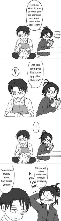 I don't ship them but this is freaking hilarious, poor Levi XD -- Levihan