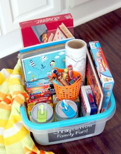 Staycation Family Fun Basket - what to pack for a fun time at home!
