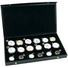 Men Women's Pocket Watch Display Case Storage Box 18 Watches Black Faux Leather  #FindingKing