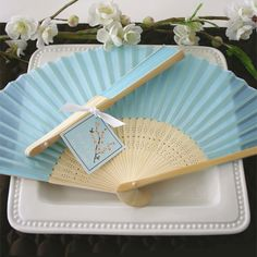 Light Blue Silk Hand Fans  Perfect alternative to flower bouquets for a summer wedding!