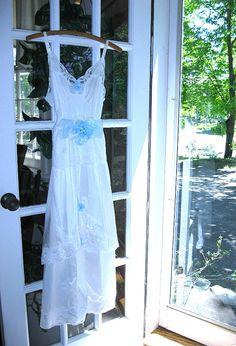 White and blue slip dress vintage slip dress by LilyWhitepad
