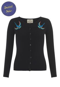 Look chic, sleek and stylish with vintage style clothing from My Vintage. Black Vintage Style Swallow/Bluebird Cardigan.