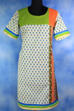Floral Cotton Kurti with Heavy Zari Border.