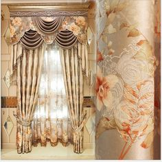 curtain europe type finished curtains for living dining room bedroom window gauze shade jacquard embroidered