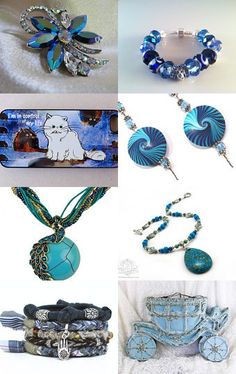 All shades of the blue in the sky treasury featuring turquoise handmade necklace by Ooh-la-la Beadtique
