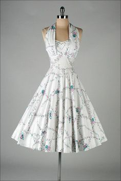 vintage 1950 white butterfly print// AMAZING. Why does no one make dresses like this anymore?!