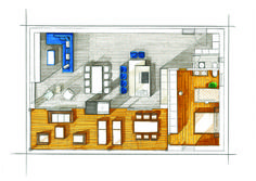Blue Lagoon Loft Plan couleur Loft Plan, Home D, Murcia, Blue Lagoon, Architecture, Perspective, Floor Plans, House Design, How To Plan