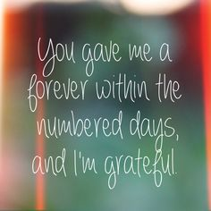 You gave me forever within the numbered days, and I'm grateful. ~ John Green (The Fault In Our Stars)