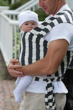charcoal and white stripe #realmenwearbabies #babywrapcarrier #supimacotton #modal #stylishdad #infantbonding #newbornbonding #nantucket #austin #wearallthebabies