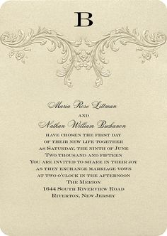 Find an abundance of gold wedding invitations with coordinating reception cards and response cards when you shop Invitations by Dawn. Vintage Invitations, Luxury Wedding Invitations, Wedding Stationery, Wedding Card Wordings, Wedding Cards, Reception Card, Invitation Wording, Response Cards, Youre Invited