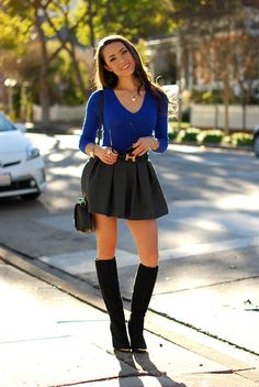 miniskirt with fitted top and boots
