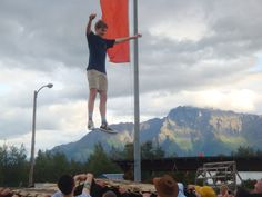 Fairgoers try the blanket toss at the 2013 Alaska State Fair.