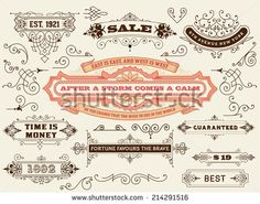 Vector. Set of calligraphic design elements: Labels, banners, baroque frames and floral ornaments collection - stock vector